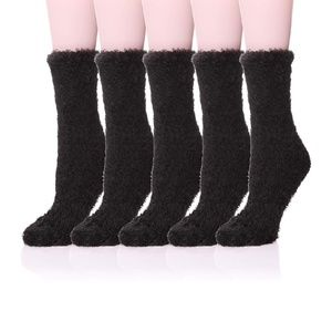 NEW 5 Pairs Soft Warm Fuzzy Fluffy Crew Socks